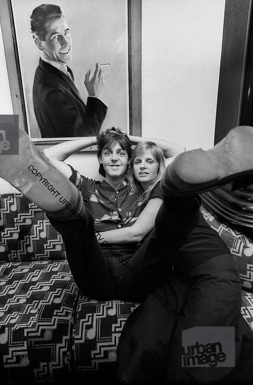 Paul and Linda McCartney at Soho Square office 1980