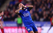 Danny Simpson of Leicester city covers his face and reacts after a goal chance is missed. Premier league match, Leicester City v West Bromwich Albion at the King Power Stadium in Leicester, Leicestershire on Monday 16th October 2017.<br /> pic by Bradley Collyer, Andrew Orchard sports photography.