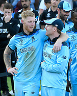 England are World Champions - Eoin Morgan of England hugs Ben Stokes of England he waits with his players before the Cricket World Cup trophy lift during the ICC Cricket World Cup 2019 Final match between New Zealand and England at Lord's Cricket Ground, St John's Wood, United Kingdom on 14 July 2019.