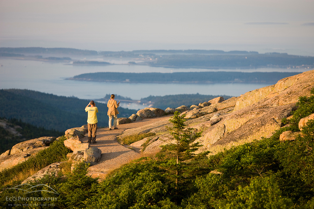 Hikers near the summit of Cadillac Mountain in Maine's Acadia National Park.