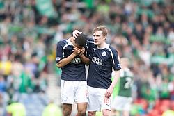 Falkirk's Lyle Taylor and Falkirk's David Weatherston at the end..Hibernian 4 v 3 Falkirk, William Hill Scottish Cup Semi Final, Hampden Park..©Michael Schofield..