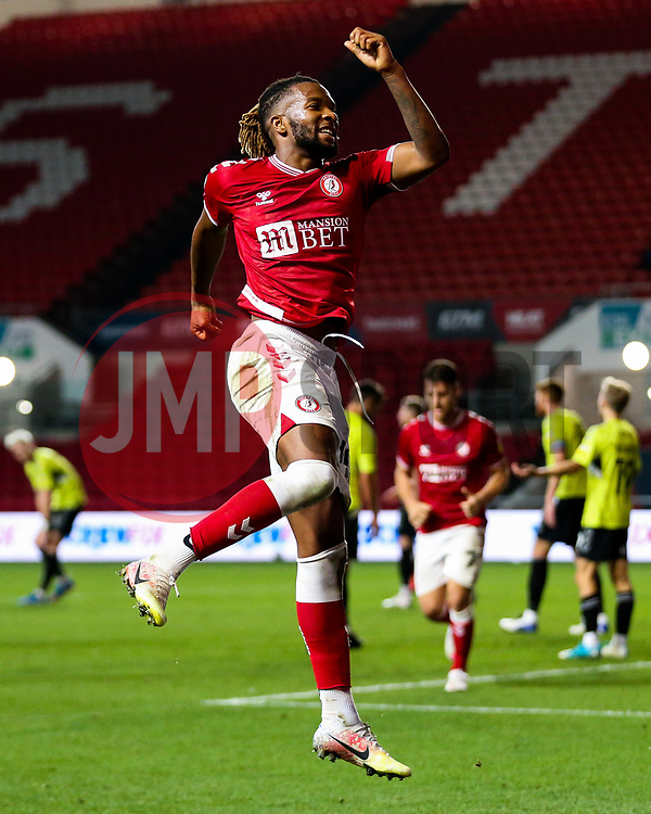 Kasey Palmer of Bristol City celebrates scoring his 2nd goal of the night to make it 4-0 - Rogan/JMP - 16/09/2020 - Ashton Gate Stadium - Bristol, England - Bristol City v Northampton Town - Carabao Cup Second Round.