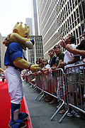 Kansas Royals mascot Sluggerrr at the Major League Baseball All-Stars and 49 Hall of Famers ride up Sixth Avenue in All Star-Game Red Carpet Parade Presented by Chevy on July 15, 2008