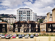 Ancient and modern buildings in a city