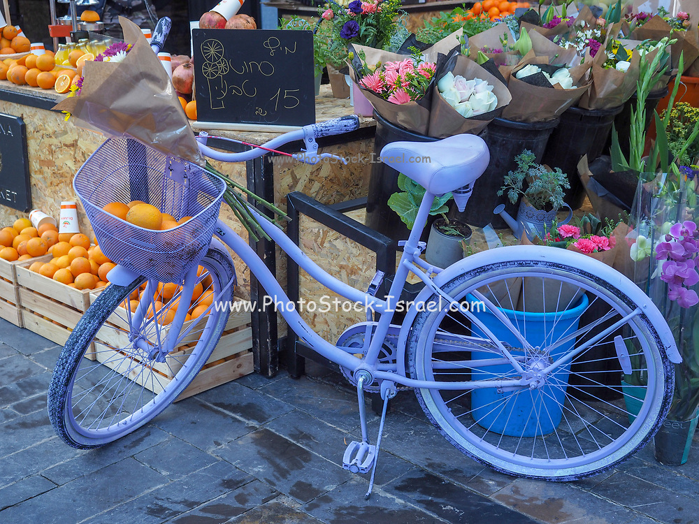 painted bicycle. Old bicycle painted sky blue