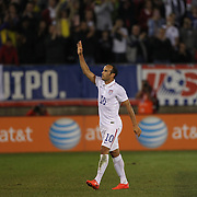 Landon Donovan, USA, salutes the crowd after his substitution during his farewell match during the USA Vs Ecuador International match at Rentschler Field, Hartford, Connecticut. USA. 10th October 2014. Photo Tim Clayton