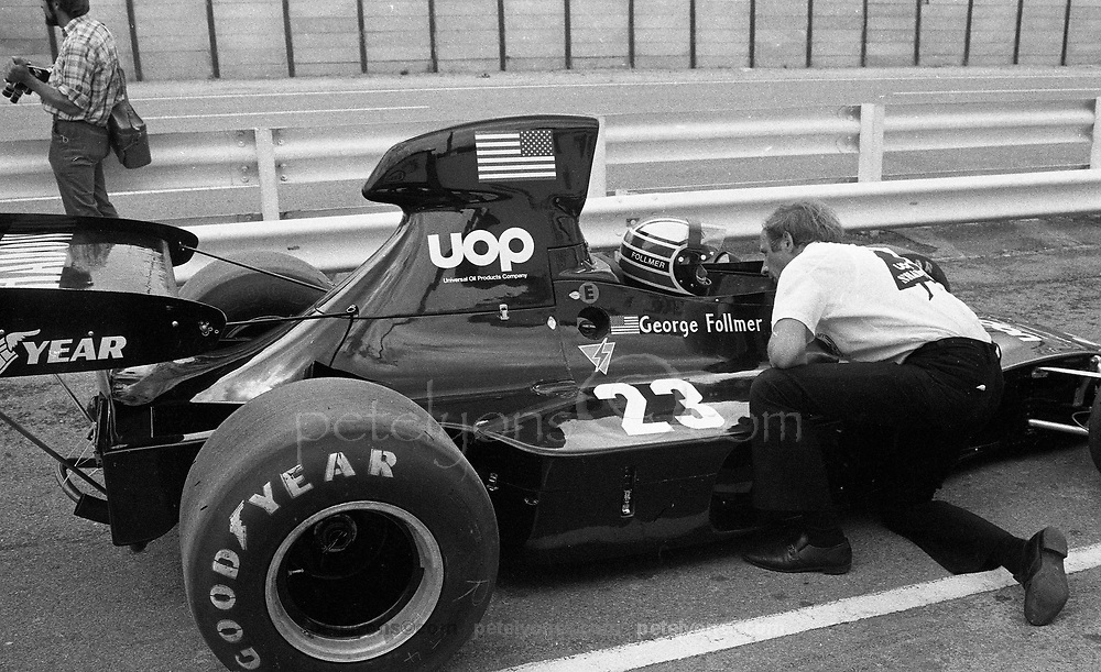 George Follmer in Shadow DN1 making F! debut for both at 1973 Grand Prix of South Africa, Kyalami; CREDIT: photo by Pete Lyons 1973 © 2018 petelyons.com