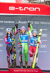 19.12.2018, Saslong, St. Christina, ITA, FIS Weltcup Ski Alpin, SuperG, Damen, Flower Zeremonie, im Bild v.l. Tina Weirather (LIE, 2. Platz), Ilka Stuhec (SLO, 1. Platz), Nicole Schmidhofer (AUT, 2. Platz) // f.l. second placed Tina Weirather of Liechtenstein race winner Ilka Stuhec of Slovenia second placed Nicole Schmidhofer of Austria6 during the Flowers ceremony for the ladie's Super-G of FIS Ski Alpine World Cup at the Saslong in St. Christina, Italy on 2018/12/19. EXPA Pictures © 2018, PhotoCredit: EXPA/ Johann Groder