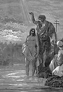 John the Baptist, wearing an animal skin, baptising Jesus. Bible: Matthew III.15. Illustration by Gustave Dore, 1865-1856. Wood engraving.
