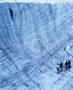 Alaska. Kennicott. Wrangell St Elias National Park. Saint Elias guides and their students on an ice climbing expedition on the Root Glacier.