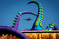 """Philadelphia, PA. USA.<br /> Building 611 Flagship Ave & 13th St. at the Navy Yard. <br /> <br /> The installation """"Sea Monsters HERE"""" artists Filthy Luker and Pedro Estrellas. <br /> <br /> Photograph by Alan Brian Nilsen ©Alan Brian Nilsen/ABN photography"""