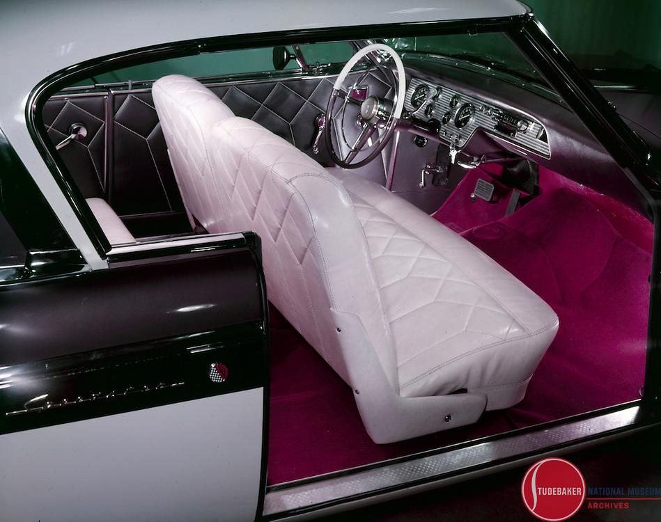 1955 President Speedster interior in Pimlico Gray and Congo Ivory.