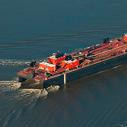 Aerial view of Bouchard ATB, Petroleum Oil Ship in the Delaware River