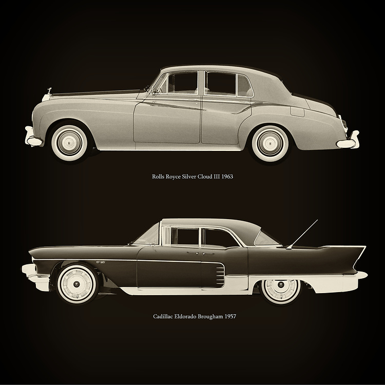 For the lover of old classic cars, this combination of a Rolls Royce Silver Cloud III 1963 and Cadillac Eldorado Brougham 1957 is truly a beautiful work to have in your home.<br /> The classic Rolls Royce Silver Cloud III and the beautiful Cadillac Eldorado Brougham are among the most beautiful cars ever built.<br /> You can have this work printed in various materials and without loss of quality in all formats.<br /> For the oldtimer enthusiast, the series by the artist Jan Keteleer is a dream come true. The artist has made a fine selection of the very finest cars which he has meticulously painted down to the smallest detail. – –<br /> -<br /> <br /> BUY THIS PRINT AT<br /> <br /> FINE ART AMERICA<br /> ENGLISH<br /> https://janke.pixels.com/featured/rolls-royce-silver-cloud-iii-1963-and-cadillac-eldorado-brougham-1957-jan-keteleer.html<br /> <br /> WADM / OH MY PRINTS<br /> DUTCH / FRENCH / GERMAN<br /> https://www.werkaandemuur.nl/nl/werk/Rolls-Royce-Silver-Cloud-III-1963-en-Cadillac-Eldorado-Brougham-1957/757783/93?mediumId=1&size=60x60<br /> –