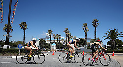 Sandra Dodet of France, Margot Garabedian of France and Yurie Matsuda of Japan chase during the Elite Women race of the Discovery Triathlon World Cup Cape Town leg held at Green Point in Cape Town, South Africa on the 11th February 2017.<br /> <br /> Photo by Shaun Roy/RealTime Images