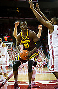 Center Bakary Konaté (21) drives the lane during the first half of the University of Minnesota Men's Basketball game versus University of Wisconsin on March 5, 2017.