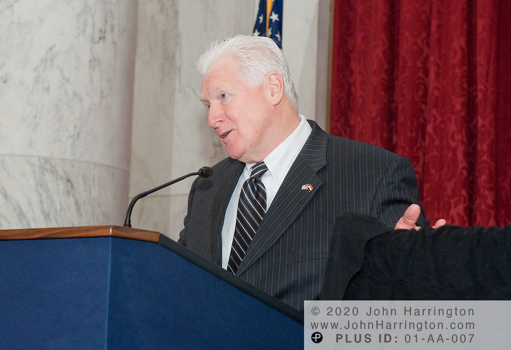 """Rep. Jim Moran (D-Va.) speaks at a press conference announcing a new partnership between The National Children's Museum and the Sesame Workshop at the Russell Senate Office Building in Washington, DC on February 3, 2011.  The Sesame Workshop, the organization behind the television show """"Sesame Street"""" will have a permanent home in the nation's capital, a move that will expand the organization's mission of education."""
