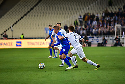 November 15, 2018 - Athens, Attiki, Greece - Dimitris Pelkas (no 18) of Greece tries to avoid Albin Granlund (no 3) of Finland. (Credit Image: © Dimitrios Karvountzis/Pacific Press via ZUMA Wire)