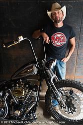 Kyle Shorey with his In Motion Bike Show custom Shovelhead at the Lone Star Rally. Galveston, TX. USA. Sunday November 5, 2017. Photography ©2017 Michael Lichter.