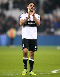 Fulham's Aleksandar Mitrovic applauds the fans at the end of the Premier League match at London Stadium.