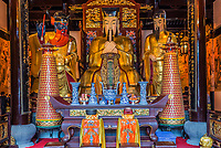 Shanghai, China - April 7, 2013: statues in the city god temple Chenghuang Miao at the city of Shanghai in China on april 7th, 2013