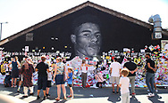 Crowds of people still come to add messages of support for Marcus Rashford, at the mural in Withington, Manchester, United Kingdom on 17 July 2021.