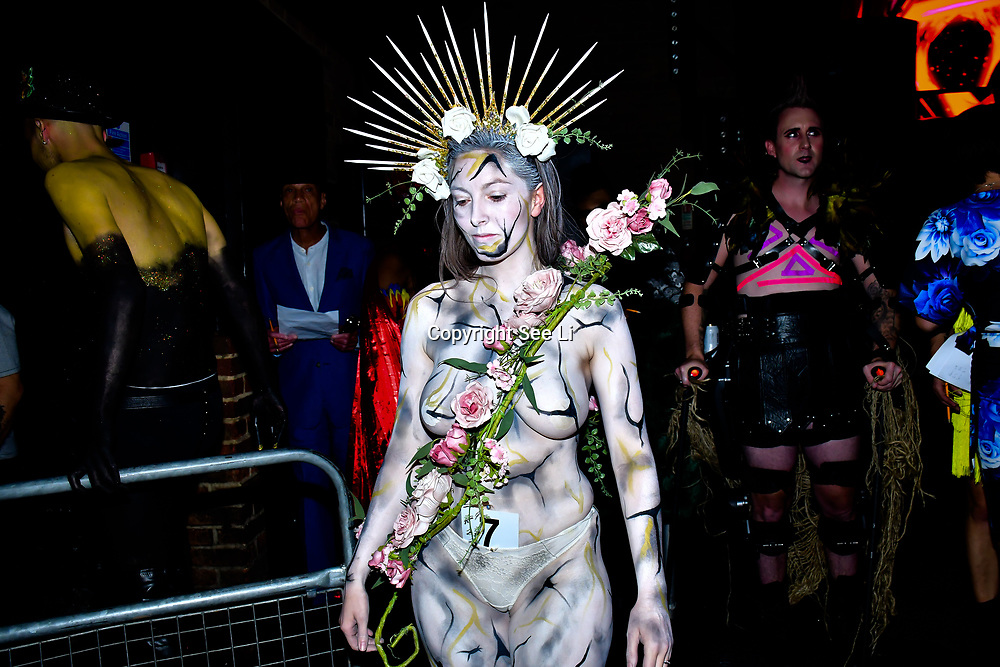 """Body artist Yasmin Raggett showcases is stunning body painting at The Third Annual Integrity Awards by Dragon Lady Productions and The Peace Project 21st """"The Alternative Fashion Integrity Awards 2019 & Film Networking Soirée"""" on 21 September 2019, Fire Club Vauxhall, London, UK."""