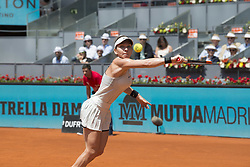 May 9, 2018 - Madrid, Madrid, Spain - SIMONA HALEP reaches for the ball in a match against KRISTYNA PLISKOVA during the 3rd round of Mutua Madrid Open 2018 - WTA in Madrid. SIMONA HALEP won the match 6-1 6-4. (Credit Image: © Patricia Rodrigues/via ZUMA Wire via ZUMA Wire)