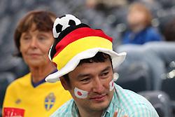 13.07.2011, Commerzbank Arena, Frankfurt, GER, FIFA Women Worldcup 2011, Halbfinale,  Japan (JPN) vs. Schweden (SWE), im Bild Deutsche Muetze und Japanische Flagge auf der Wange.. // during the FIFA Women´s Worldcup 2011, Semifinal, Japan vs Sweden on 2011/07/13, Commerzbank Arena, Frankfurt, Germany.   EXPA Pictures © 2011, PhotoCredit: EXPA/ nph/  Mueller       ****** out of GER / CRO  / BEL ******