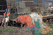 Lobster pots and nets. Small fishing and sailing hamlet of Felixstowe Ferry at the mouth of the River Deben, Suffolk, England