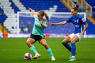 Brighton & Hove Albion defender Maya Le Tissier (6) holds off ball during the FA Women's Super League match between Birmingham City Women and Brighton and Hove Albion Women at St Andrews, Birmingham United Kingdom on 12 September 2021.