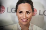040219 Tamara Falco delivers LG OLED TV to International Cooperation Association