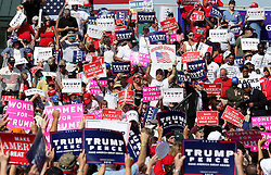 Donald Trump supporters cheer while waiting for his arrival at a tarmac rally on Tuesday, October 25, 2016 at Orlando Sanford International Airport in Sanford, FL, USA. Photo by Joe Burbank/Orlando Sentinel/TNS/ABACAPRESS.COM