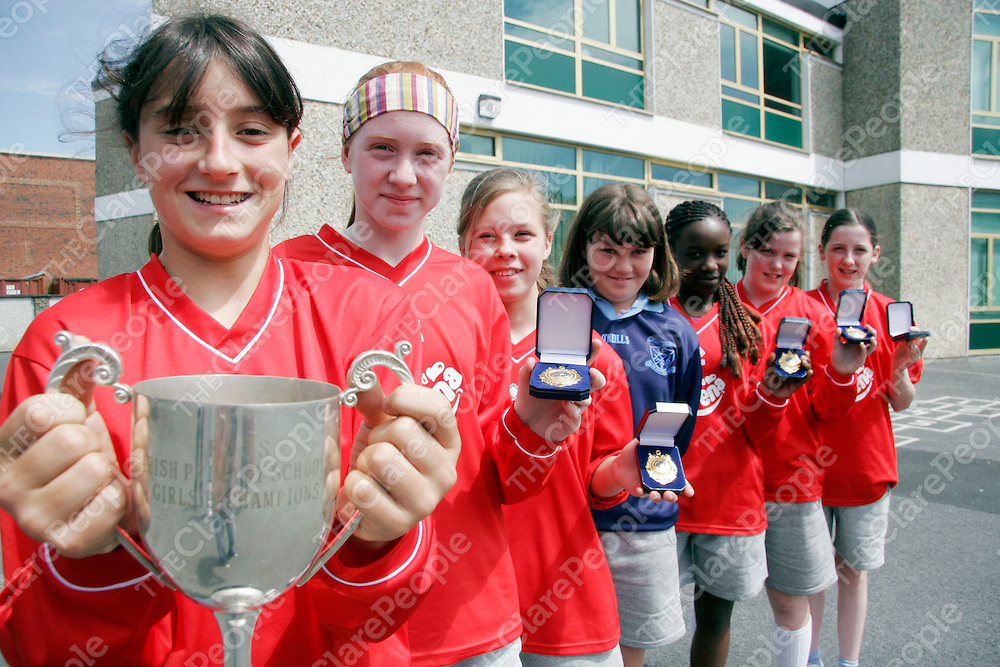 Students from the Holy Family N.S who won the FAI Irish Primary School Girls B Championship which is sponsored by Ribena.<br /><br />From left: Mary Allen (C), Ciara Conoy, Victoria Krechan, Kate Feehan, Ope Adelodun, Lorrie Ryan and Rebecca Culligan. (Absent from photo is Catalina Parga who was in Germany for the World Cup).<br /><br /><br /><br />Photograph by Yvonne Vaughan.