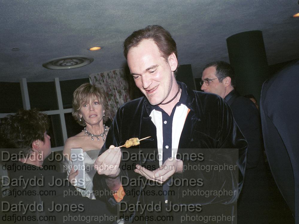 Jane Fonda  and Quentin Tarantino. Miramax post Oscar party. Beverley Hills Hotel. 26 March 2000. © Copyright Photograph by Dafydd Jones 66 Stockwell Park Rd. London SW9 0DA Tel 020 7733 0108 www.dafjones.com