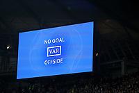 Football - 2018 / 2019 UEFA Champions League - Quarter-Final, Second Leg: Manchester City (0) vs. Tottenham Hotspur (1)<br /> <br /> The VAR screen shows No Goal, at The Etihad.<br /> <br /> COLORSPORT/PAUL GREENWOOD