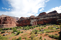 OCT 6, 2016: Canyon walls as a helicopter comes up from the canyon floor in Supai, Arizona, Richey Miller/CSM(Credit Image: © Richey Miller/Cal Sport Media)