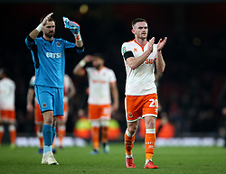Blackpool's Oliver Turton applauds the fans after the Carabao Cup, Fourth Round match at the Emirates Stadium, London.