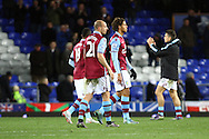 Aston Villa players look dejected after the final whistle. Barclays Premier League match, Everton v Aston Villa at Goodison Park in Liverpool on Saturday 21st November 2015.<br /> pic by Chris Stading, Andrew Orchard sports photography.