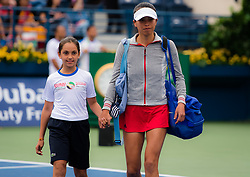 February 22, 2019 - Dubai, ARAB EMIRATES - Su-Wei Hsieh of Chinese Taipeh walks on court for her semi-final  match at the 2019 Dubai Duty Free Tennis Championships WTA Premier 5 tennis tournament (Credit Image: © AFP7 via ZUMA Wire)