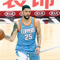 18 March 2018: LA Clippers guard Austin Rivers (25) passes the ball during the Portland Trail Blazers 122-109 victory over the LA Clippers, at the Staples Center, Los Angeles, California, USA.