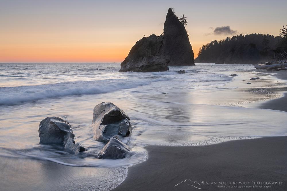 Twilight over Split Rock on Rialto Beach Olympic National Park Washington