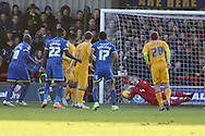 Andy Barcham of AFC Wimbledon sees his effort saved by Brian Jensen (goalkeeper) of Mansfield Town during the Sky Bet League 2 match between AFC Wimbledon and Mansfield Town at the Cherry Red Records Stadium, Kingston, England on 16 January 2016. Photo by Stuart Butcher.