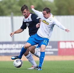 Falkirk's Kieran Duffie and Morton's David O'Brein.<br /> half time : Falkirk 2 v 0 Morton, Scottish Championship 17/8/2013.<br /> ©Michael Schofield.
