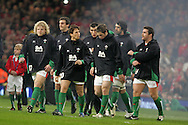 Welsh players enter the field of play. Invesco Perpetual series, Wales v Australia at the Millennium Stadium on Saturday 28th Nov 2009.  pic by Andrew Orchard, Andrew Orchard sports photography, .EDITORIAL USE ONLY