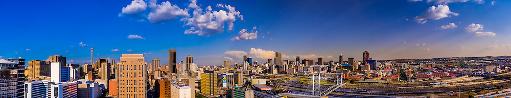Panoramic view of Central Business District with Nelson Mandela Bridge, Johannesburg, South Africa.