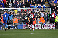 Photo: Tony Oudot/Richard Lane Photography. Gillingham v Shrewsbury Town. Coca-Cola Football League Two. 28/02/2009. <br /> GOAL! Grant Holt (16) of Shrewsbury scores the first of his two late goals from the penalty spot which earned his team a draw