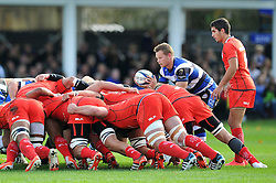 Chris Cook of Bath Rugby puts the ball into a scrum - Photo mandatory by-line: Patrick Khachfe/JMP - Mobile: 07966 386802 25/10/2014 - SPORT - RUGBY UNION - Bath - The Recreation Ground - Bath Rugby v Toulouse - European Rugby Champions Cup
