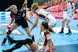 Danick Snelder of Netherlands, Greta Marton of Hungary, Aniko Kovacsics of Hungary in action during the Women's EHF Euro 2020 match between Netherlands and Hungry at Sydbank Arena on december 08, 2020 in Kolding, Denmark (Photo by RHF Agency/Ronald Hoogendoorn)