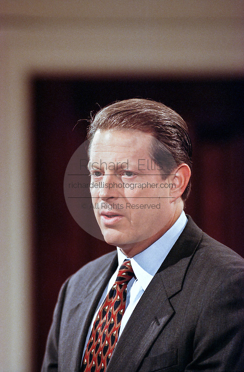 US  Vice President Al Gore during an event announcing the first federal budget surplus in 29 years at the White House September 30, 1998 in Washington, DC.
